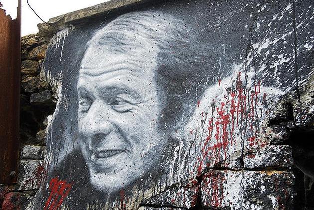 """Gilles Deleuze, painted portrait _DDC3363"" Photo by thierry ehrmann[CC BY 2.0]"
