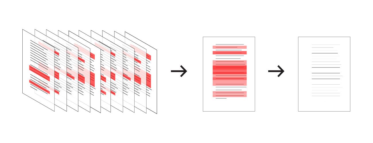 図7 下線部マップ ――読者が線を引いたところが重なりあった情報が見られる
