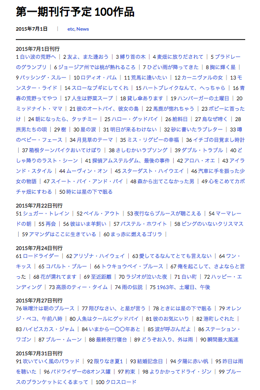 「片岡義男 全著作電子化計画」特設ページより(スクリーンショット)