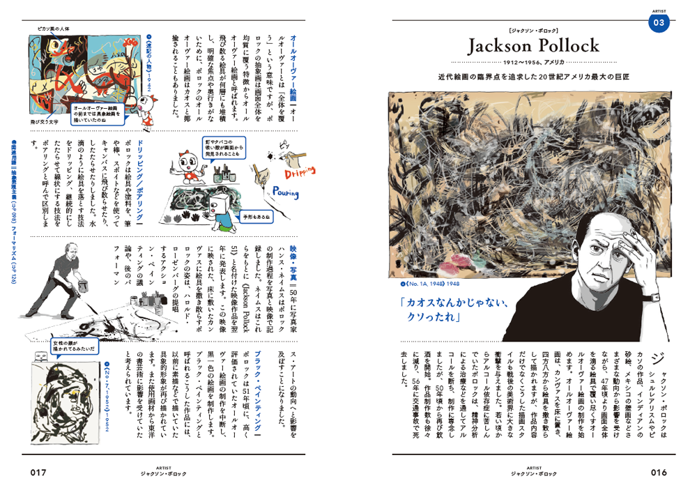 アーティスト編、「ジャクソン・ポロック」のページ(p.16〜17)より