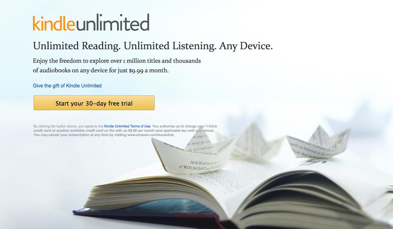 Kindle Unlimitedのページ(Amazon.com)より(スクリーンショット)