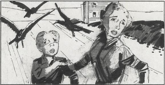 ヒッチコック『鳥』(1963)の絵コンテ/『ハロルドとリリアン ハリウッド・ラブストーリー』より ©2015 ADAMA FILMS All Rights Reserved