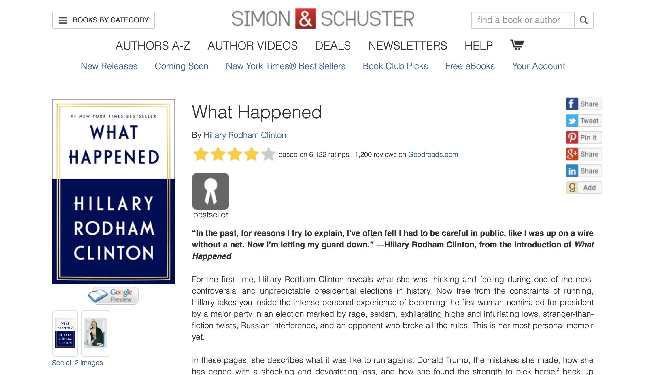 ヒラリー・クリントン『What Happened』(Simon & Schusterのサイトより/スクリーンショット)