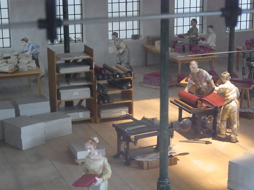 ドイツ博物館(ミュンヘン)に展示されている、製本工房のミニチュア模型