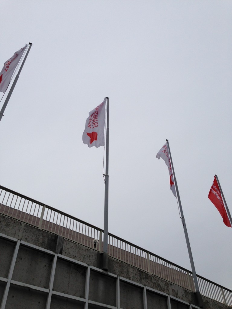 会場入り口に立っている旗。天気はあまりよくない
