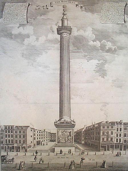 ロンドン大火記念塔(Wikipedia: Monument to the Great Fire of London より)